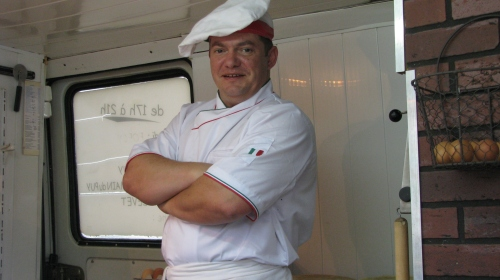 Rudlolf Cocher - the man in the van, cooking up Pizza six nights a week