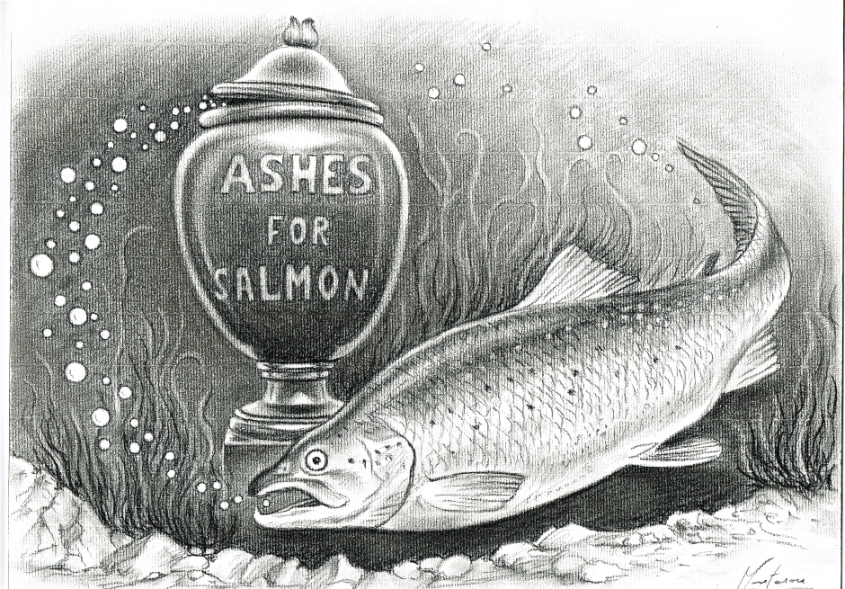 Original cover artwork for my new book Ashes for Salmon. Illustration by Yves Montarou. www.yves-montarou-le-portraitise.fr